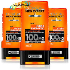 3x Loreal Men Expert Shower Gel Hydra Energetic, Taurine, Wake Up Effect 300ml