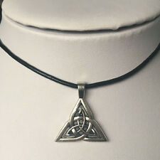 fashion Celtic knot alloy Genuine Leather Pendant Necklace Jewelry 1PCS