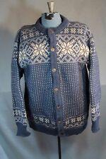 Dale of Norway Cardigan Sweater Snowflake Blue Cream White 42 in bust