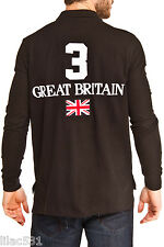 L * Polo Ralph Lauren Custom Fit Big Pony GREAT BRITAIN UK Flag Shirt  Black