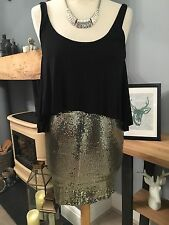 MISS SELFRIDGE - Petites Black & Gold Sequinned Bodycon Wiggle Dress  Size 6