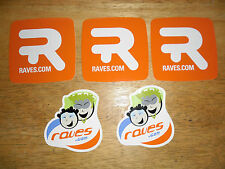 Raves.com Stickers (Lot of 5!!!) ORANGE (Raves.com Website Advertising)