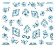 Nail Art Decals Transfers Stickers Blue Flowers (DA286)