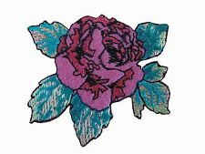 "#5076 2-3/8"" Pink Peony Flower Embroidery Iron On Appliqué Patch"