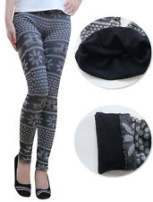 Autumn Warm Pants Winter Women's Nordic Deer Snowflake Knitted Leggings 8 10 12