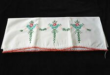 Vintage Embroidered Flower Bouquet Pillowcase with Crocheted Trim