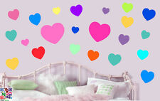 Colourful Pastel Hearts Pack of 22 Wall Art Stickers Peel & Stick Love Decals