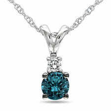 10k White Gold 1/4 CT Blue & White Diamond Fashion Pendant Necklace Chain
