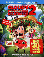 Cloudy with a Chance of Meatballs 2 Blu Ray + DVD + Digital Copy New Sealed