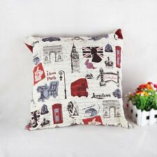 Vintage London Style Home Decor Linen Carton Cover  Throw Sofa Pillow Case