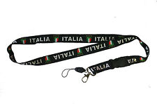 ITALIA ITALY BLACK COUNTRY FLAG LANYARD KEYCHAIN PASSHOLDER ..  NEW