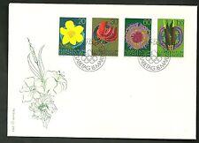 BUSTA 1972 LIECHTENSTEIN FDC  4 VALORI FIORI FLOWERS