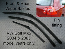 Front Rear Wiper Blades VW Golf Mk5 Nov 2003 to Sept 2005 53 04 54 05 55 regsted