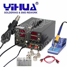 3IN1 853D 5A DC POWER SUPPLY HOT AIR GUN REWORK SOLDERING iron STATION OZ