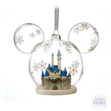 Disney Parks Mickey Mouse Icon Fantasyland Castle Glass Ornament Christmas