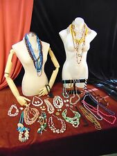 HUGE JEWELRY LOT Big Chunky NECKLACES Plastics GLASS Acrylic LUCITE Wood Vintage