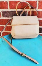 SALVATORE FERRAGAMO NATURAL Nude LEATHER CROSSBODY BAG Auth GUC
