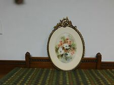 Vintage Watercolor Floral Painting in Antique Filigree Brass Oval Frame