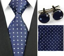 Blue 100% Pure Silk Neck Tie Cuff-links &Handkerchief Set Blue & Silver Dots