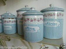 """ANTIQUE FRENCH ENAMELWARE 6  KITCHEN CANISTERS  GRANITE WARE  """"BB"""" FRERES"""