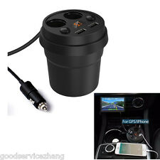 DC Dual Socket Car Cigarette Lighter Power Adapter Charger Splitter 2 USB Port