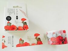 """WASHI TAPE: 1-1/4"""" WIDE BEAUTIFUL RED POPPIES & CATS WASHI TAPE- NEW"""