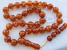 "TRANSPARENT WORRY BROWN POLAND AMBER 33 ISLAMIC PRAYER ROUND BEADS,13""LONG,75Grm"