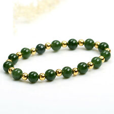 Authentic Grade A Jade (jadeite) 10mm Green Bead 4mm 18K Gold Bead Bracelet