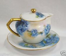 Antique Teapot/Creamer Thomas Bavaria Germany Blue Flowers Forget Me Not