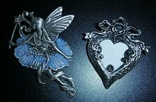 """Pewter """"JJ"""" Jonette Pixie Fairy Ballerina and Pewter Heart Lockets Pins Brooches"""
