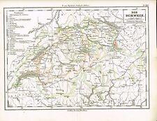 Politische Karte der SCHWEIZ / KANTONE, Original-Graphik 1874