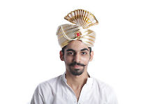 TRADITIONAL INDIAN GROOM SHAADI SHERWANI TURBAN HEADWRAP  WEDDING PHETA SAFA