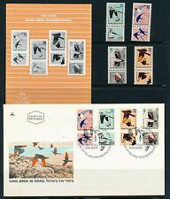 ISRAEL 1992 SONG BIRDS STAMPS MNH + FDC + POSTAL SERVICE BULLETIN