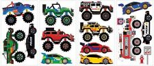MONSTER TRUCKS Wall Decals RACE CARS FIRE TRUCK POLICE CAR Boys Stickers