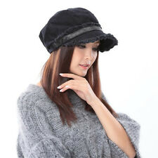 New Woman Black Unique Winter Warm Sports Hats100% Cotton Berets Warm Caps