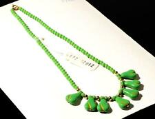 "Vintage 15"" necklace realistic green pear fruit pendant fringe Czech glass beads"
