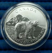 2011 Canada Wildlife Series Grizzly Bear 1 oz 9999 Fine Silver C$5 Coin