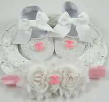 Baby Crib Shoes and Headband Set, Newborn Baby Girl Shoes, Baby Accessories