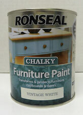 Ronseal Chalky Finish Furniture Paint - 750ml - VINTAGE WHITE - No Need To Wax