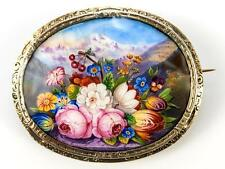 Lovely Antique French Kiln-fired Enamel Brooch, Florals & Mountain in Vermeil