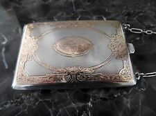 ANTIQUE VICTORIAN 14K GOLD INLAID & STERLING SILVER MONEY DANCE PURSE