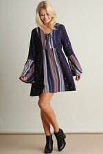 UMGEE NAVY Mix Bell Sleeves Lace UP tie Front Dress/Tunic XL SASSY SKY