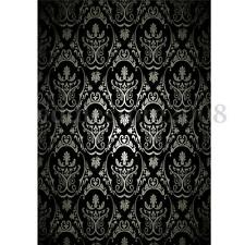 3x5ft Vinyl Retro Black Damask Wall Photography Backdrop Studio Background Props