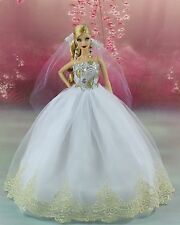 White Fashion Princess Party Dress/Wedding Clothes/Gown+Veil For Barbie Doll K02