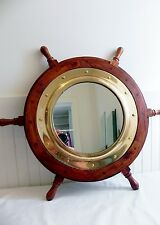 "Vintage 24"" Wood Wooden Ship Captains Wheel Wall Mirror Brass Nautical Porthole"