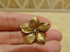 Antique vintage 14k yellow gold realistic flower plumeria diamond brooch pin