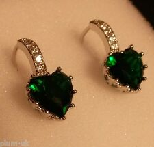 U04B Sim diamond +emerald heart silver (white gold gf) French hoop earrings BOXD