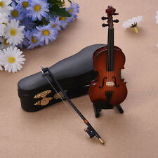 Wooden Musical Instruments Collection Decor Mini Violin with Support Miniature