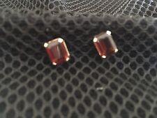 Emerald Cut Garnet Earrings In 14k Gold Post Setting