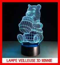 RARE LAMPE CHEVET USB 3D VEILLEUSE ENFANT WINNIE L'OURSON POOH 7 COULEUR GRATUIT